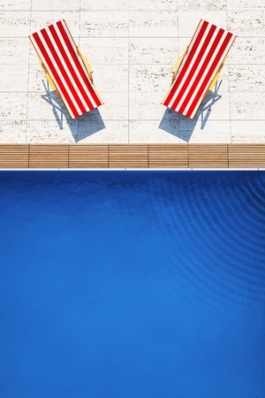 3d swimming pool with beach chairs photo