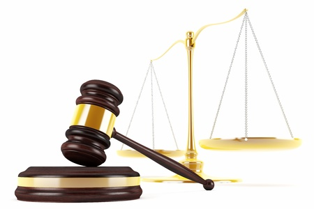 3d gavel and scales Stock Photo