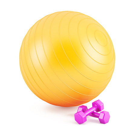 Orange Fitness ball,and pink weights  Stock Photo