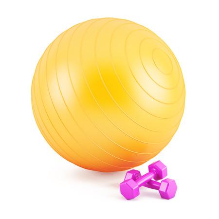 Orange Fitness-Ball, und rosa Gewichte Standard-Bild