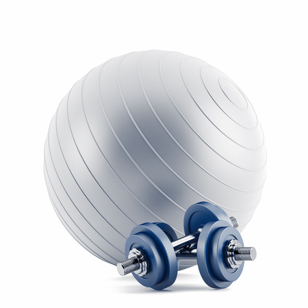 Fitness ball,and weights  Stock Photo