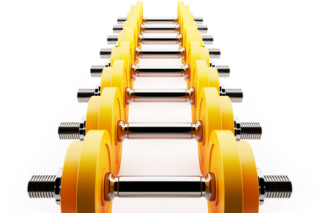 strengthen hand: Row of cool dumbbells,  Stock Photo
