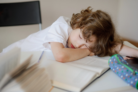 rested: The boy was doing lessons and fell asleep from exhaustion. He rested his head on the desk.