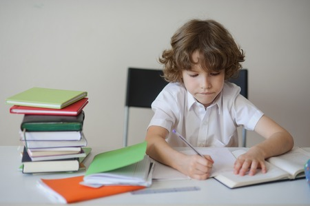 zeal: Blonde schoolboy sitting at a desk. On the table stack of books and notebooks. The boy makes a record of zeal biting her lip