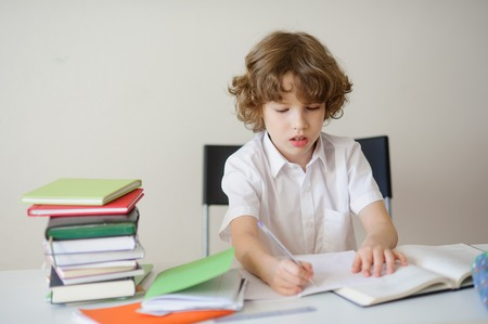 zeal: Cute boy in a white shirt do homework. On the desk books and notebooks. A child diligently writes