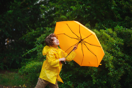 dishevel: Boy of 8-9 years with a yellow umbrella against magnificent greens of park. Cute chappie dressed in a yellow raincoat. He looks in sky with smile. Stock Photo