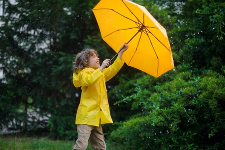 Little boy with a bright yellow umbrella and in a raincoat under warm summer rain. He loves a rain and rejoices. He cheerfully plays with rain drops. Behind the back of the boy magnificent wet greens