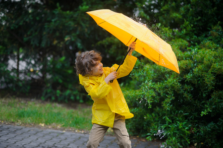 Laddie in a yellow raincoat is covered with an umbrella from a rain and wind. Wind frays the boys hair. He hardly holds a big yellow umbrella in hands. The boy is surrounded by magnificent vegetation Stock Photo