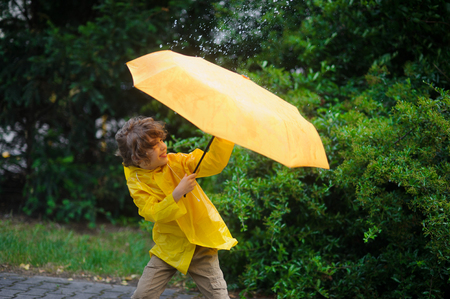 Boy 8-9 years in a bright yellow raincoat tries to hold an umbrella from wind flaws. He dressed in a bright yellow raincoat. Large drops of a rain fall on an umbrella dome. Wind frays the boys hair.