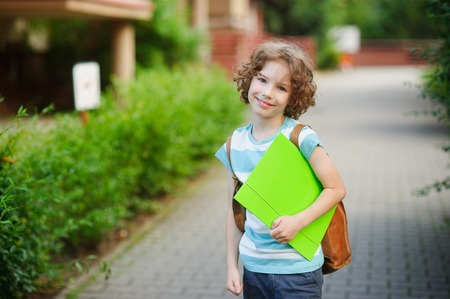 satchel: Cute blue-eyed schoolboy with a smile looks in the camera. In hands at the boy the bright folder, behind the back - a satchel. Stock Photo