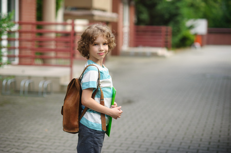 Schoolboy goes to school with a satchel behind shoulders. The boy was turned and looks in the camera with a thoughtful smile. It has a nice face and blue eyes. Stock Photo
