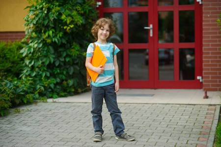 The joyful schoolboy on a schoolyard. Chappy has curly hair and a nice face. Behind shoulders at the pupil a satchel, in hands the folder. The schoolboy with a smile looks in a camera. Back to school.