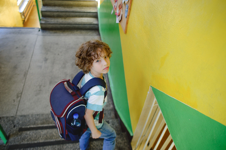 Little schoolboy standing on the steps of the school stairs. The boy looked back and looking at the camera. He has a pretty serious face. Behind the schoolboy's backpack.