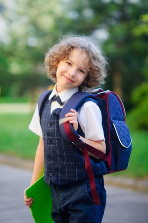 smartly: Cute little first grader is in the school yard. The primary school students smartly dressed. Behind the boys school backpack in his hands - bright folder. The schoolboy looks at camera and smiling. Back to school.