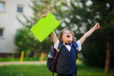 hands lifted up: The schoolboy very angry. The boy lifted up both hands and clenched his fists. He looked up to the sky with an angry expression. He opened his mouth. In hand the boy has a bright folder. Back to school. Stock Photo