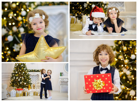 boxing day: Christmas - a favorite childrens holiday. Fancy Christmas tree, gifts. Happy childrens faces. Merry Christmas. Happy New Year. Stock Photo