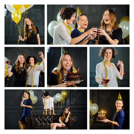 Happy birthday. Young women celebrate the day of a friends birthday. Greetings, presents, birthday cake. Wonderful party.