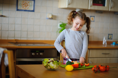 homemaker: Little cook cooks salad. On a table various vegetables. Lovely girl of younger school age cuts vegetables and greens on a chopping board. Mothers assistant diligently prepares. Stock Photo
