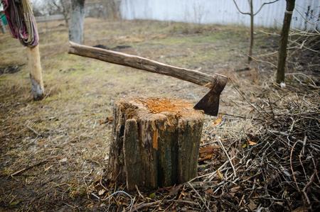 그 루터 기에서 오래 된 도끼. 오래 된 던져 정원입니다. 건초. 가 슬픈 풍경입니다.