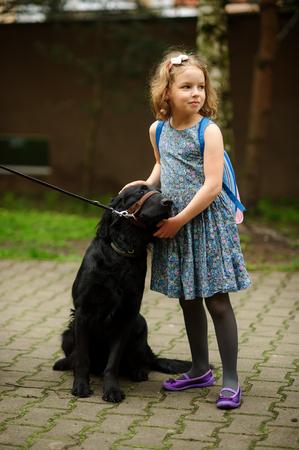 Little schoolgirl caressing a big black dog sitting on a leash. Dog trustfully nestles on the child. Stock Photo