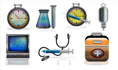 time critical: Collage of different medical equipments isolated on white background