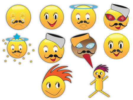 Collection of different emoticons in variety of expressions photo