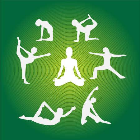 flexible woman: Colecci�n de yoga diferente plantea contra el fondo verde