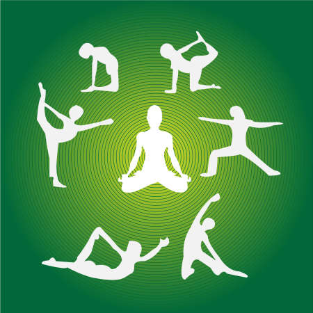Collection of different yoga poses against green background