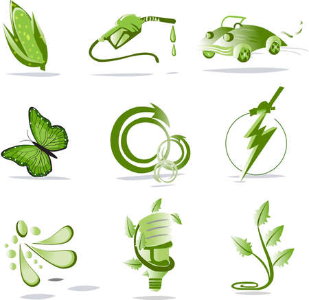 biofuel: Collection of different green biological icons isolated on white background Illustration