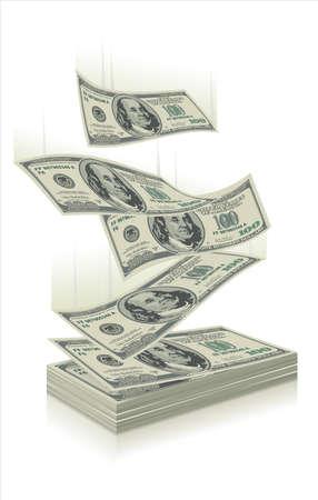 dinero volando: Moneda EE.UU. - $ 100 en varias formas y ángulos.