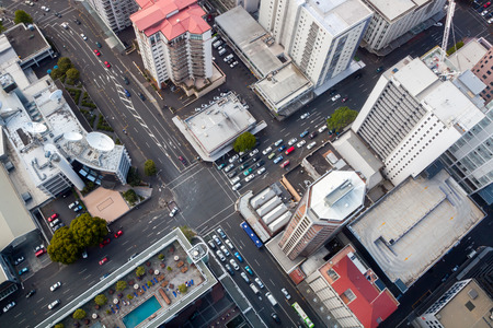 city: Modern City Crossroad from Birds Perspective Auckland downtown taken from Sky Tower Stock Photo