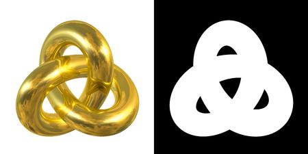 nudo: Oro de la muestra del nudo gordiano, la reflexi�n del cielo - s�mbolo goldmetal aislado sobre fondo blanco.