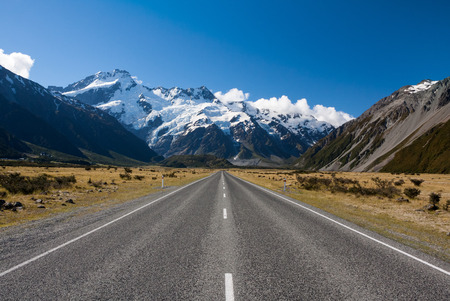 Straight road to the mountains