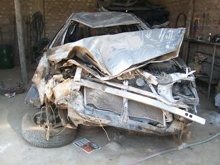 coche: flipped car Stock Photo