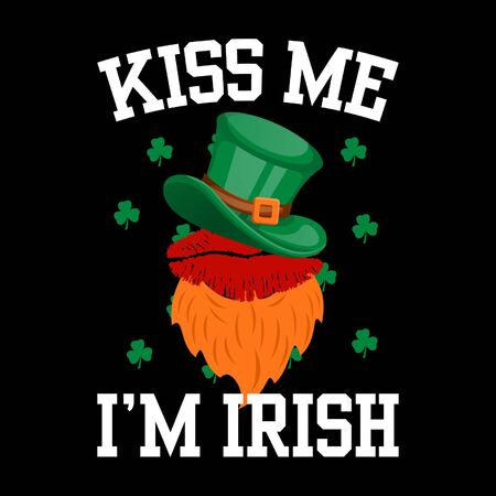 Kiss me Im Irish Happy Patricks Day Festival Typography T-Shirt Design, Illustration Gifts for Themselves, Friends, Family, and Colleagues.