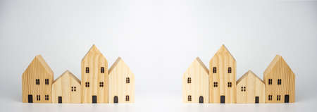 Simulated wooden house on white background Can be used as a billboard