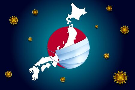 Coronavirus COVID-19 or Corona virus concept for Japan. Japan in a medical mask protects itself from nCoV