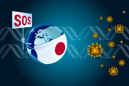 Earth in a medical mask with Japanese flag asks SOS for help from virus coronavirus nCoV against the background of DNA. Coronavirus COVID-19 or Corona virus concept for Japan Vector Illustration