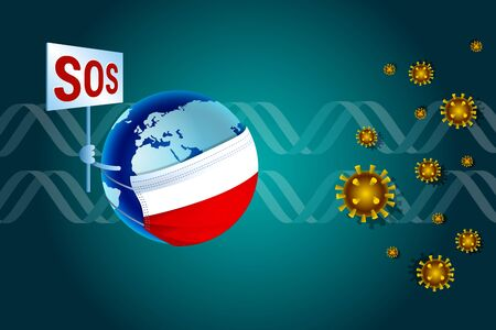 Coronavirus or Corona virus COVID-19 concept for Poland. Earth in a medical mask with Polish flag asks SOS for help from virus coronavirus nCoV against the background of DNA Vetores