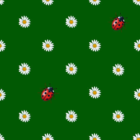 Daisies flowers and ladybugs seamless pattern for children. Vector illustration on green background. Print textile design. Color fabric texture
