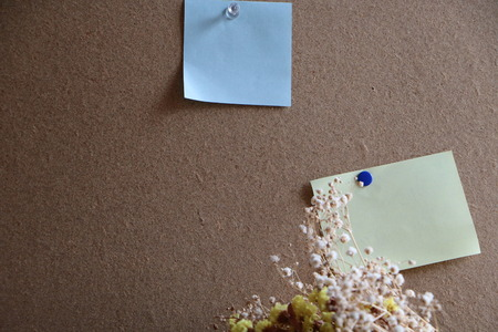 yellow tacks: Blank note paper with pin  colored push pins