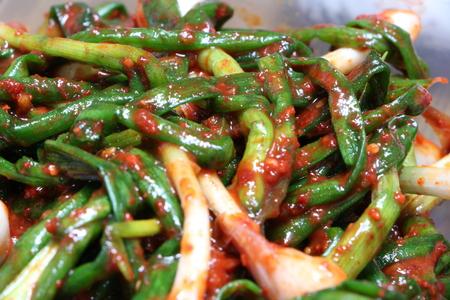 korea food green onion kimchi