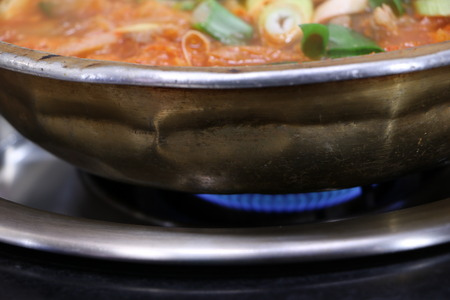korea food: Brazier above Korea Food Stock Photo