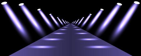 Podium, road, pedestal or platform illuminated by spotlights on black background. Stage with scenic lights. Vector illustration