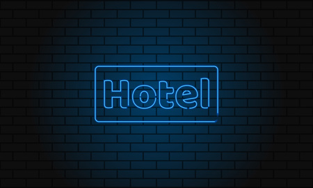 Neon sign hotel on brick wall background. Vintage electric signboard with bright neon lights. Blue light falls on a brick background. Vector