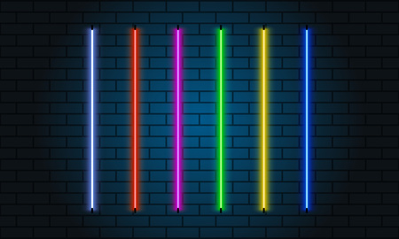 Neon brushes set. Set of colorful light objects on dark background Vettoriali