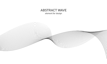 Abstract wave element for design. Digital frequency track equalizer. Stylized line art background. Vector. Wave with lines created using blend tool. Curved wavy line, smooth stripe. 矢量图像