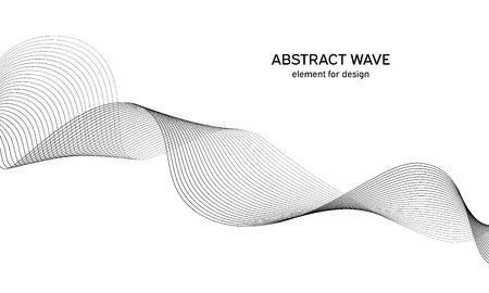 Abstract wave element for design. Digital frequency track equalizer. Stylized line art background. Vector. Wave with lines created using blend tool. Curved wavy line, smooth stripe. Ilustração