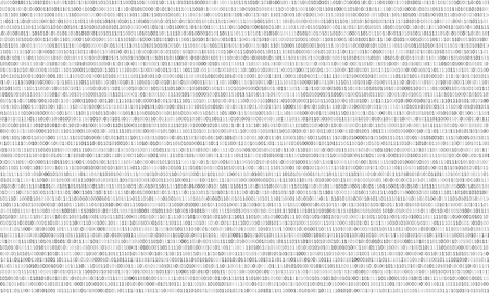 Binary code black and white background with two binary digits, 0 and 1 isolated on a white background. Algorithm Binary Data Code, Decryption and Encoding. Vector. Illustration