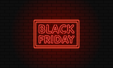 Dark web banner for black Friday sale. Modern neon red billboard on brick wall. Concept of advertising for seasonal offer with glowing neon text Vettoriali